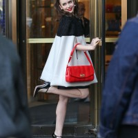Lily Collins Wears Emilio Pucci With A Christian Louboutin Padam Clutch