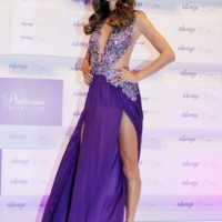 Alessandra Ambrosio in a Patricia Bonaldi Purple Dress