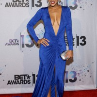 Meagan Good Shocks In A Plunging Blue Gown – BET Awards 2013