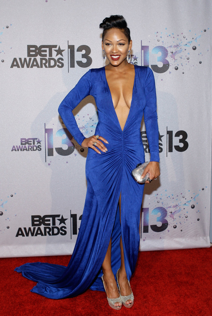 Meagan Good Shocks In A Plunging Blue Gown – BET Awards ...