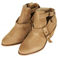Topshop Advance Western Cut Out Boots In Taupe