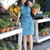 Emmy Rossum in a Banana Republic Issa London Blue Ceramic Dress
