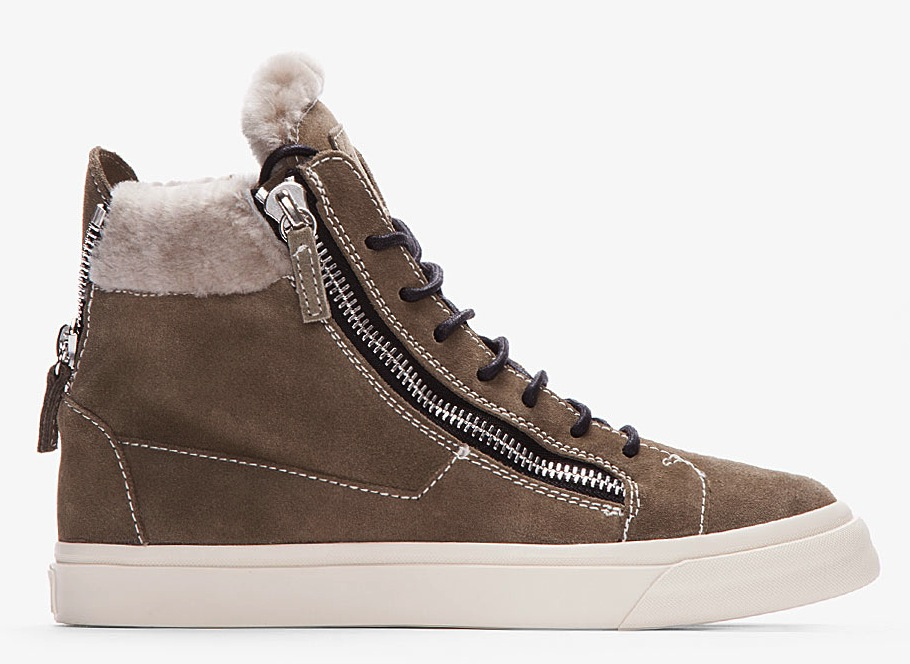 Giuseppe-Zanotti-Olive-Suede-Shearling-Trimmed-Sneaker