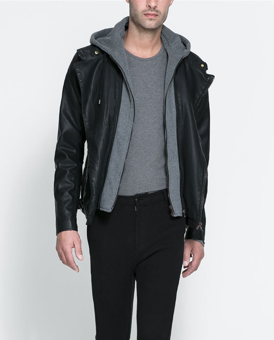 Biker Jacket With Detachable Hood