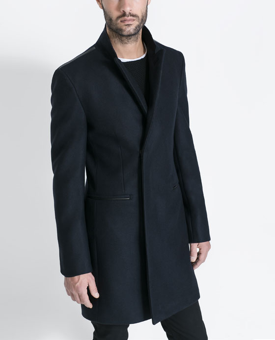 Contrasting Faux Leather Overcoat