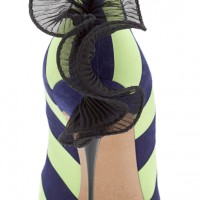 Nicholas Kirkwood Ruffle Back Green & Blue Stripe Pumps