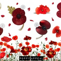 Red Crystal Poppy Appeal Brooches