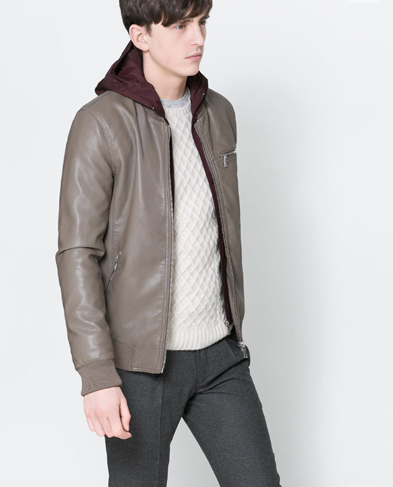 zara faux leather hooded jacket 2