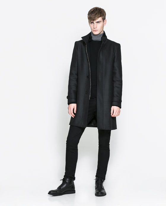 zara knit coat with detachable hood
