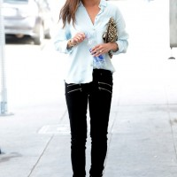 Jamie Chung in an American Eagle Denim Shirt & Paige Edgemont Jeans