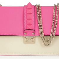 Valentino Glam Lock Pink Studded Leather Shoulder Bag