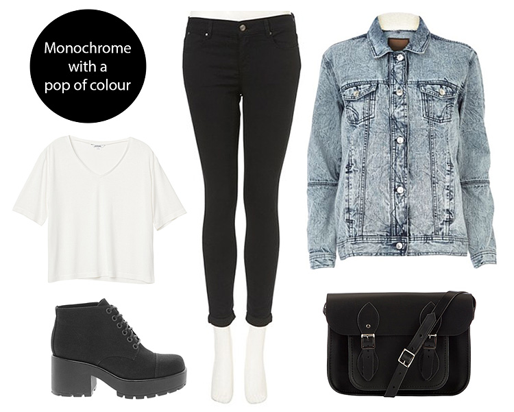 Monochrome outfit with a pop of colour