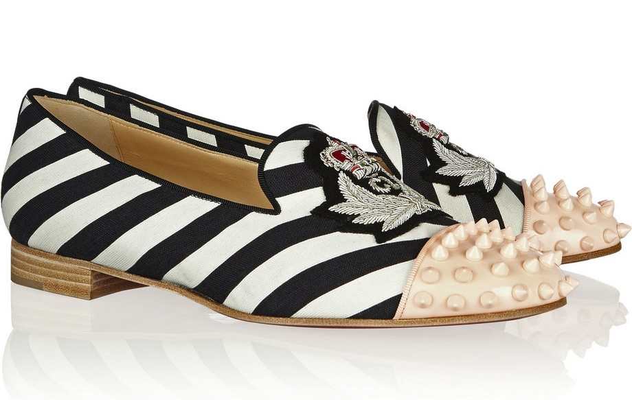 christian-louboutin-intern-studded-striped-canvas-slippers