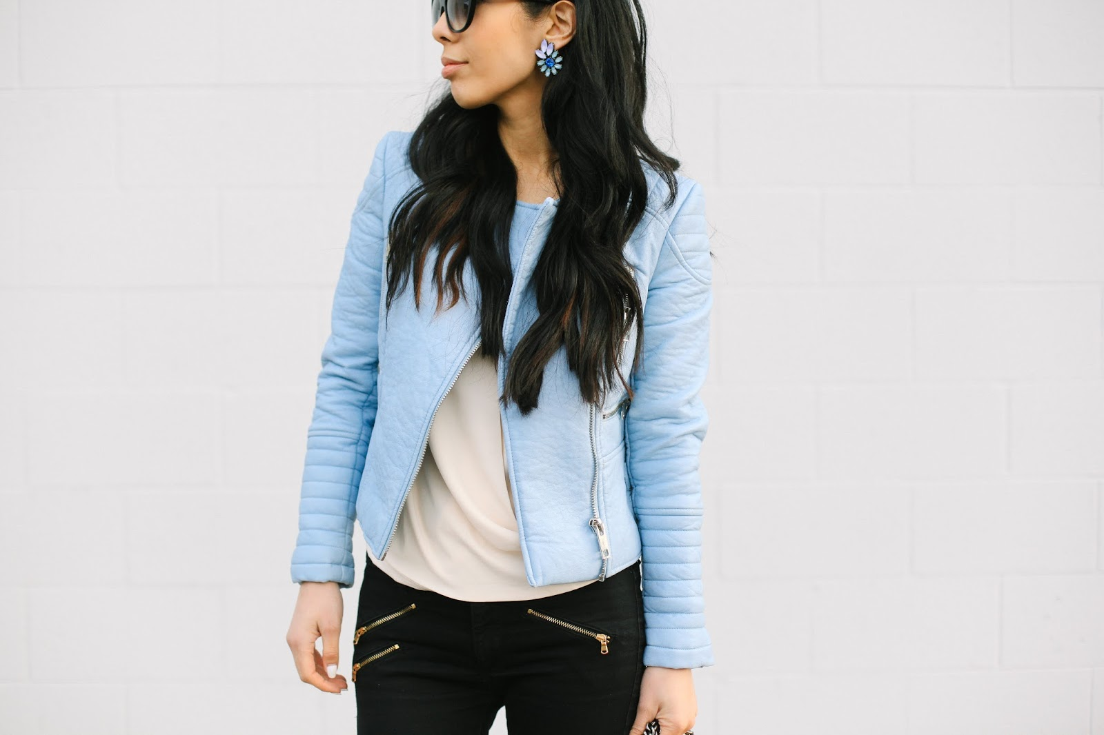 Blue Leather Jacket Pale Blue Leather Jacket