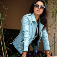 Pastel Pale Blue Leather Jackets