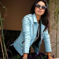 Pastel Pale Blue Leather Jackets