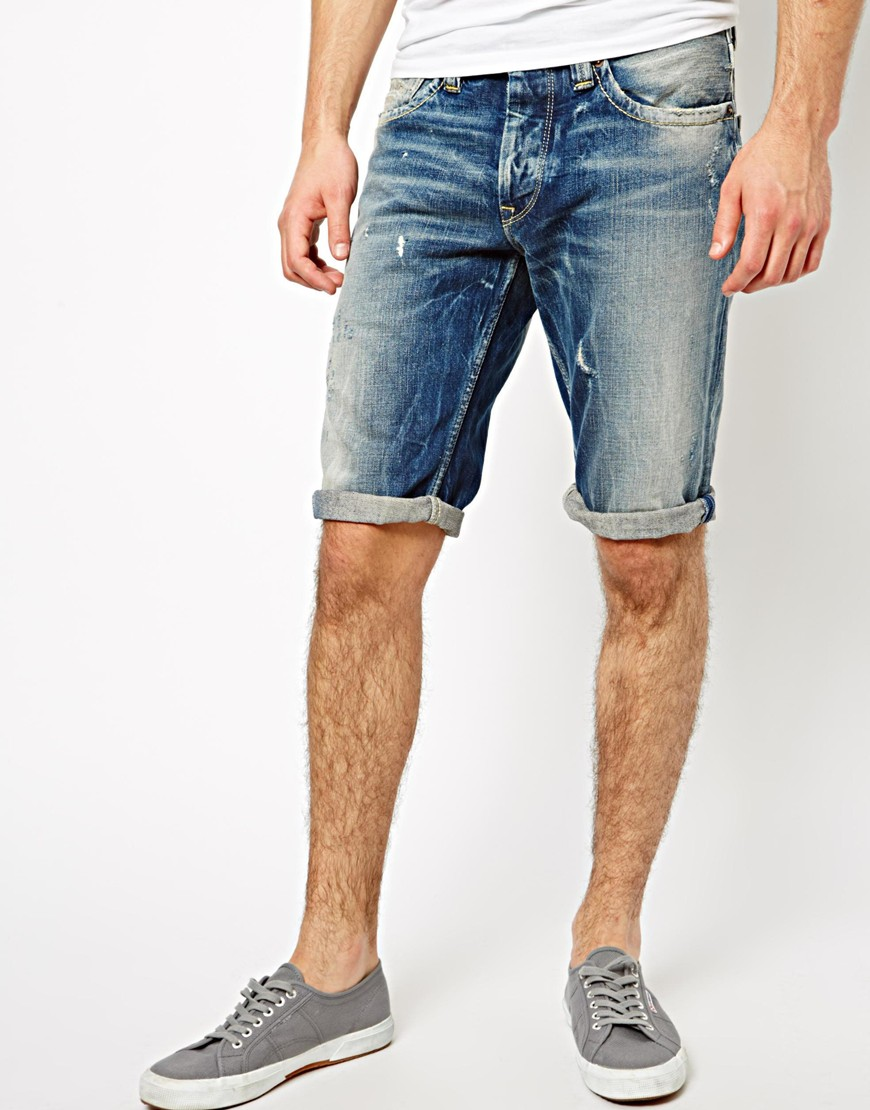 Discover the range of men's denim shorts at ASOS. Shop from a range of men's short shorts, camo shorts and denim chino shorts. Available today at ASOS. Lee Cut Off Rider Short in Blue Damage. $ Replika Plus Skinny Fit Denim Short With Stretch. $ ASOS DESIGN denim shorts in slim light wash with abrasions.