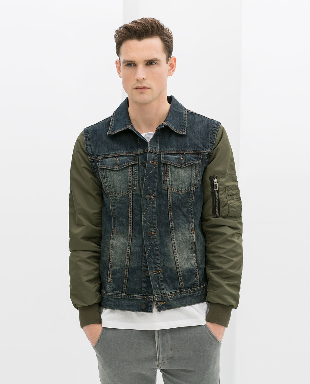Zara mens denim jacket with leather sleeves