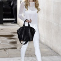Cheryl Cole Wears All White In A J Brand Womenswear Tilman Sweater