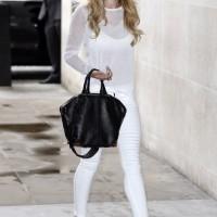 Cheryl Cole Wears All White In A J Brand Womenswear Tilman Sweater