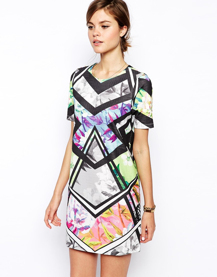 Asos Shift Dress In Bright Fl Geo Print