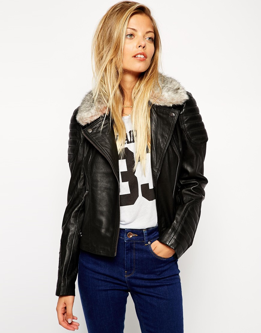 Images of Womens Leather Jacket With Fur Collar - Reikian