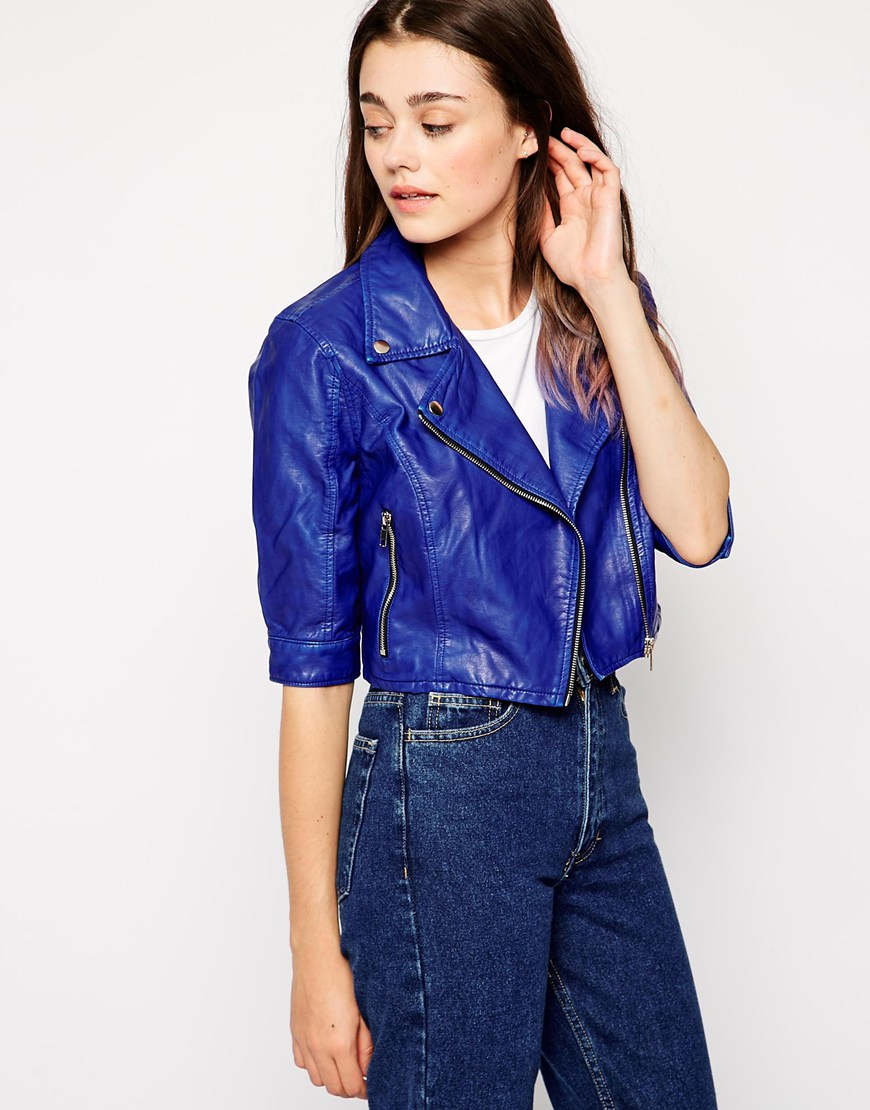 blank nyc faux leather blue jacket