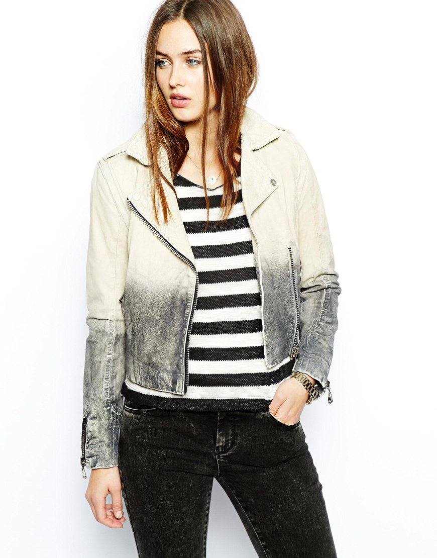 doma leather biker jacket with ombre