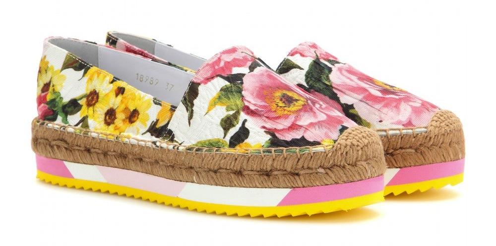 Dolce & Gabbana Printed brocade platform espadrilles
