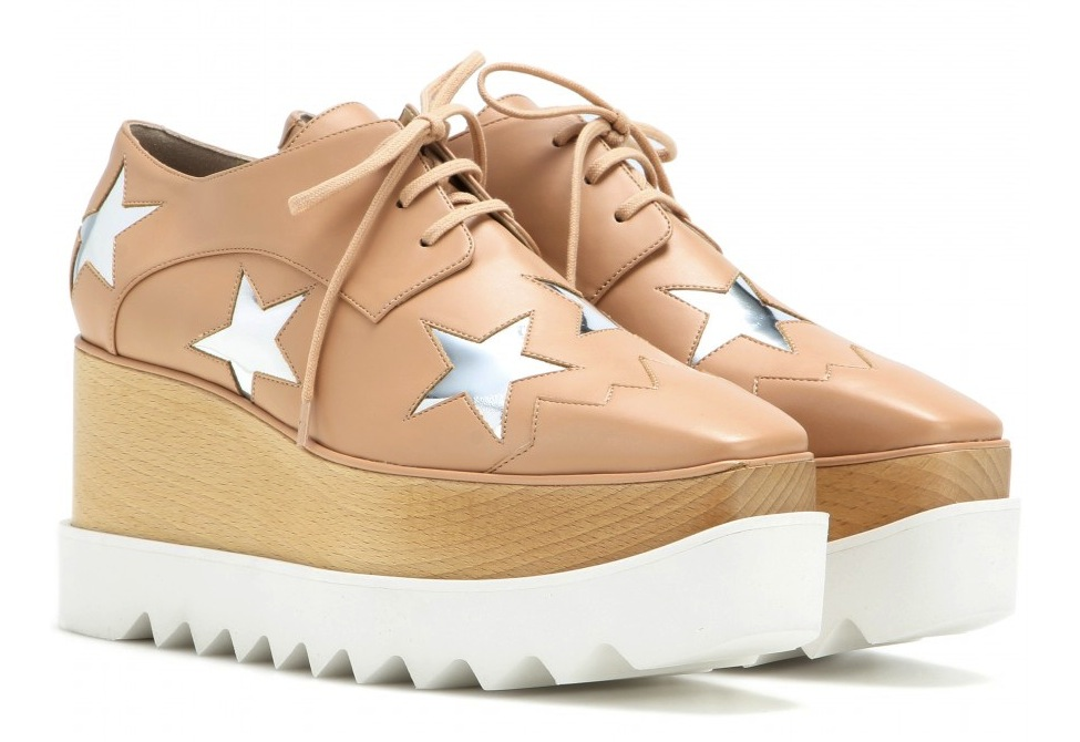 Stella McCartney Britt metallic platform derby shoes  nude