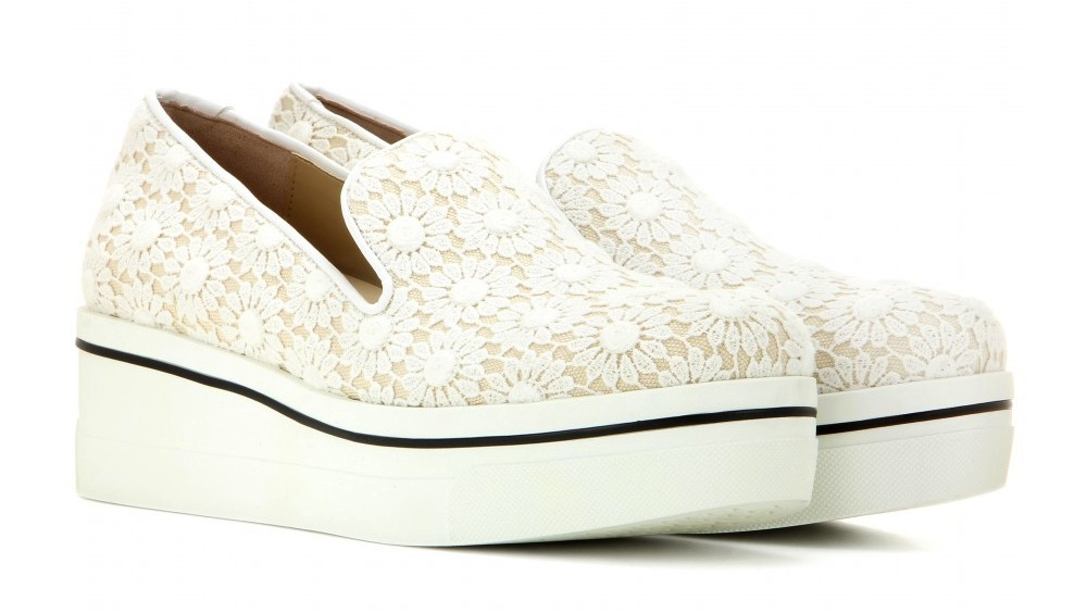 Stella McCartney Lace-embellished platform slip-on sneakers