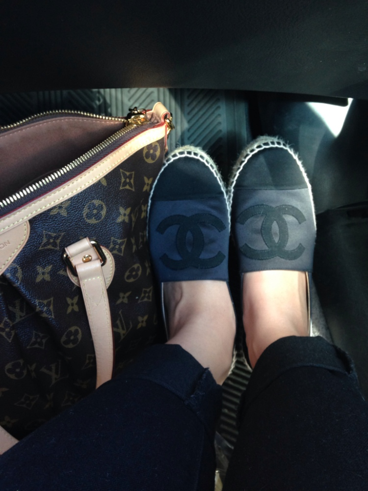 chanel espadrilles navy satin