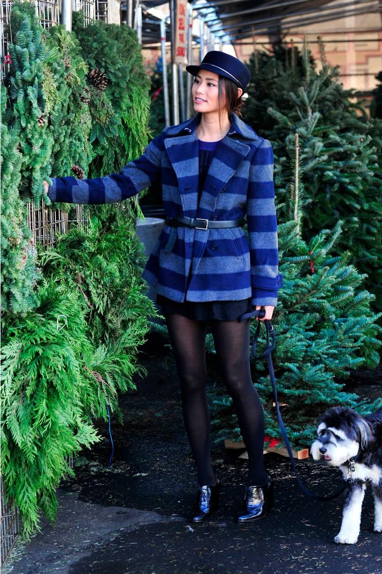 Jamie Chung Loves Her Nautica Striped Pea Coat