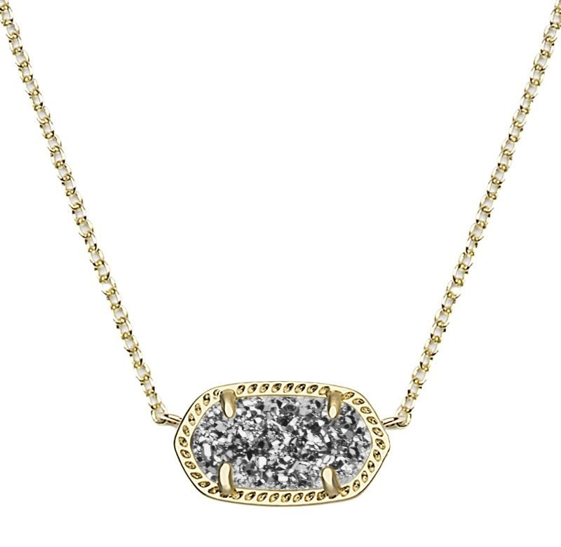 Kendra Scott Elisa Pendant Necklace in Platinum Drusy