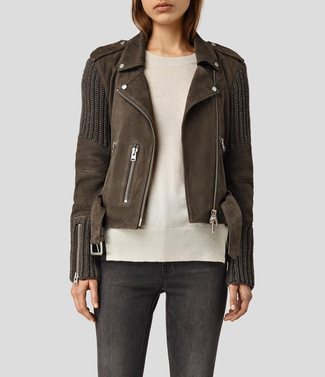 all saints Denell Suede Biker Jacket