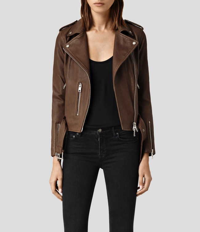 all saints balfern leather jacket brown sahara