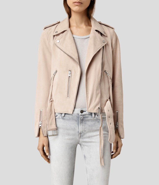 all saints balfern plaid jacket nude pink