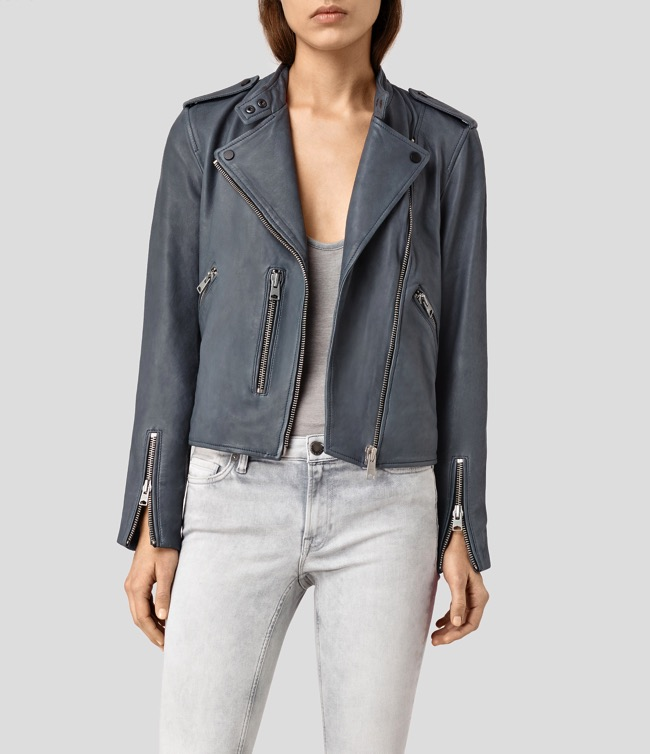 all saints klyn leather biker jacket blue